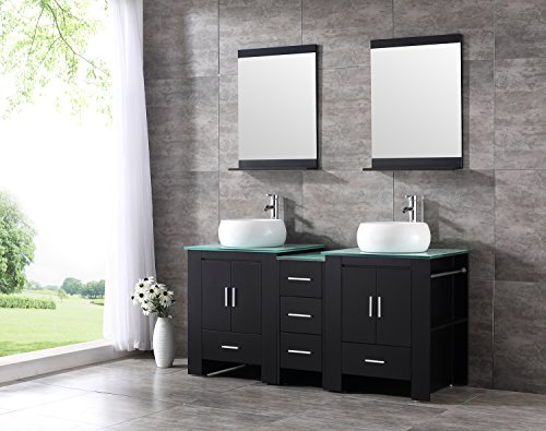 Glass Wood Vanity Cabinet (Walcut Luxury 60