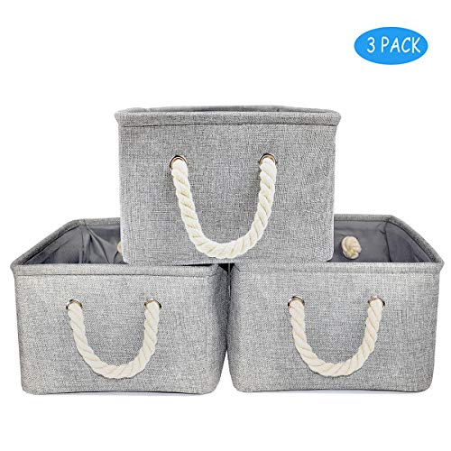 Grey Storage Baskets for Nursery 3-Pack Rattan Book Baskets for Shelf Toy Organizer (Grey,16.3x12.2x7.7in)