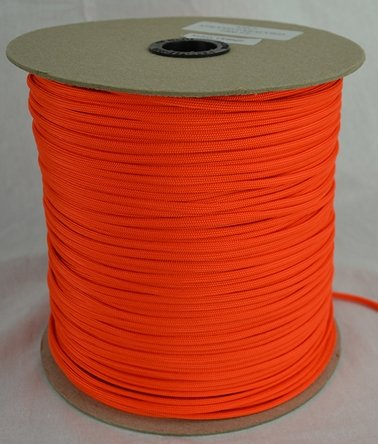 Type III Mil-Spec Commercial Paracord 1,000 Spools – Variations! 25+ Colors (Neon Orange), Outdoor Stuffs