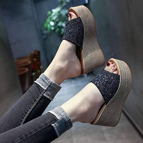 Ouvert Talon Haut Pantoufles Noir Chaussures Plateforme Femmes Glisser Coin Sandales Bout Décontractée Femme Compensee Été Sur Ete Mules Chaussons Bazhahei P4pZvWq