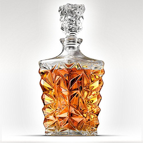5-Piece Diamond Cut Whiskey Decanter Set. 4 Glasses and Scotch Decanter with Stopper - Unique Elegant Dishwasher Safe Glass Liquor Bourbon Decanter Ultra-Clarity Glassware by Ashcroft