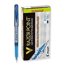 V Razor Point Liquid Ink Marker Pen, Blue Ink, .5mm, Dozen, Sold as 2 Dozen
