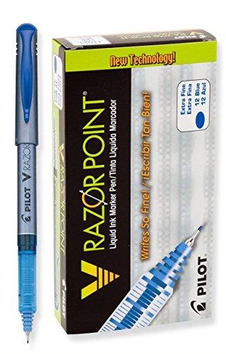 - Pilot V Razor Point Liquid Ink Marker Pen Extra Fine Point, Blue DOZEN(11021)
