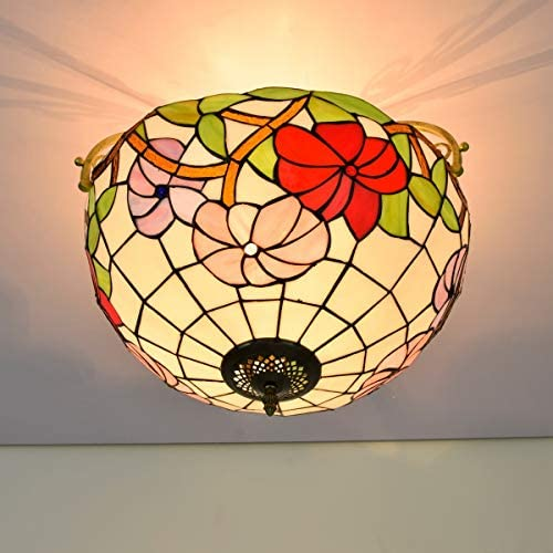 Ceiling Light 16 Inch Half Ceiling Light Tiffany Rural Style Morning Glory Pattern for Living Room Corridor Bedroom