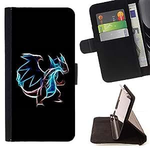For Samsung Galaxy Note 5 5th N9200 Case , Neón que brillan intensamente de Poke Monster- la tarjeta de Crédito Slots PU Funda de cuero Monedero caso cubierta de piel