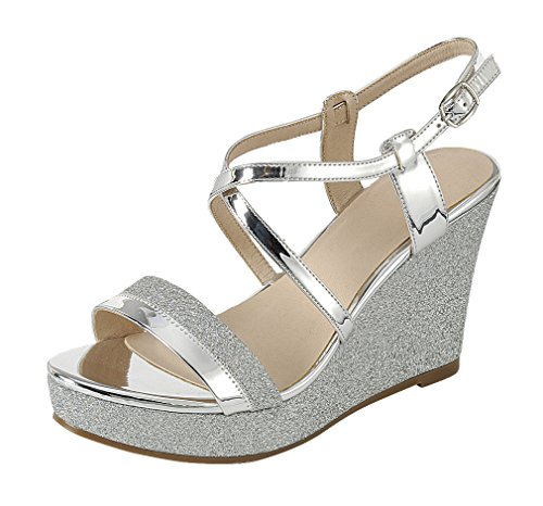 1e2bcebf4fe Cambridge Select Women s Open Toe Crisscross Ankle Strappy Mixed Media  Glitter Platform Wedge Sandal (10 B(M) US