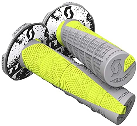 Scott Deuce Off-Road Motorcycle Hand Grips - Grey/Neon Yellow/One Size