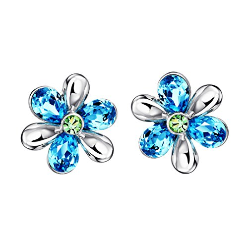 Neoglory Jewelry Blue Crystal Flowers Stud Earrings Gift For Girl Women Mother Embellished with Crystals from Swarovski