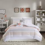 5 Piece Full/Queen Coral Pink & Grey Comforter Set, Reversible Bedding Bedroom Set, Geometric, Motif & Stripe Pattern, Bohemian & Casual Style, Microfiber/Polyester Material, Machine Washable
