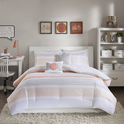 5 Piece Full/Queen Coral Pink & Grey Comforter Set, Reversible Bedding Bedroom Set, Geometric, Motif & Stripe Pattern, Bohemian & Casual Style, Microfiber/Polyester Material, Machine Washable by PH