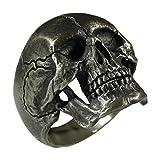 Full Jaw Biker Harley Masonic Men Skull Ring Hand Made Rustic Finish Sterling Silver 925 Anatomic SK03