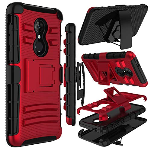 Alcatel 3 Case, T-Mobile Revvl 2 Case, Alcatel REVVL 2 5052W Case, Zenic Heavy Duty Shockproof Full-Body Protective Hybrid Case with Swivel Belt Clip and Kickstand for Alcatel 3 (Red)