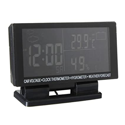 Awakingdemi Car Temperature Thermometer Clock,LCD Digital Clock Car Compass Voltage Voltmeter Hygrometer Weather Forecast