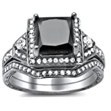 2.10ct Princess Cut Black Diamond Engagement Ring Bridal Set 14k White Gold