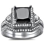 2.10ct Princess Cut Black Diamond Engagement Ring Bridal Set 14k White Gold
