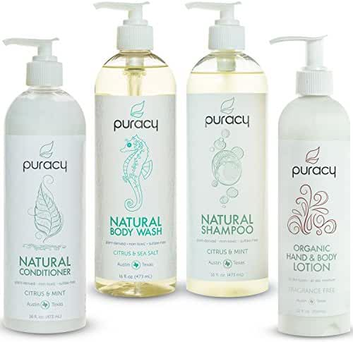 Puracy Natural and Organic Personal Care Set, Sulfate-Free Body Wash, Shampoo, Conditioner, Lotion, Developed by Doctors, (Pack of 4)