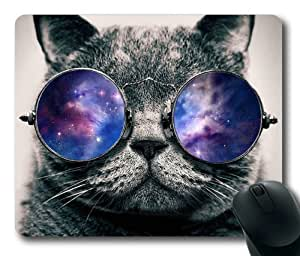 Funny Cat with Galaxy Glasses Mouse Pad/Mouse Mat Rectangle by ieasycenter