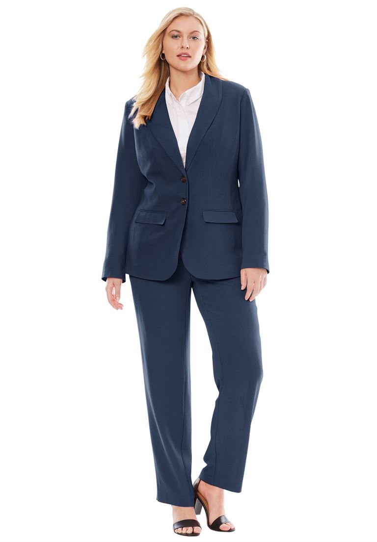 Jessica London Women's Plus Size Single Breasted Pant Suit Navy,16 W