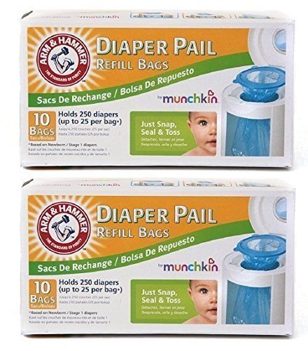 Munchkin Arm & Hammer Diaper Pail Refill Bags 10-Count Pack of 2