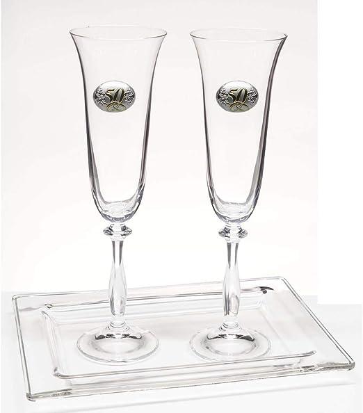 la galaica | - Pack de 2 Copas de Cristal para Champán Cava y Espumoso + Bandeja de Cristal | Regalo para 50 Aniversario - Bodas de Oro y Plata | Angela | Estuche de protección: Amazon.es: Hogar