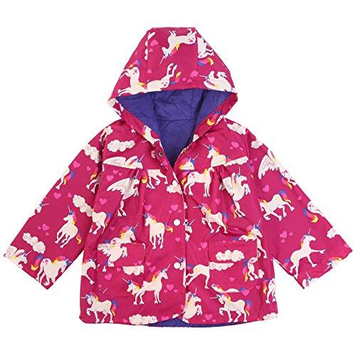 Ephex Little Girls's Cute Animal Print Waterproof Hooded Raincoat 140CM