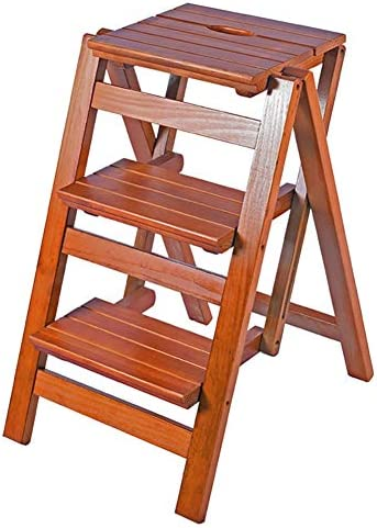 LFF- Multifunctional Wooden Stage Stool Scale Portable Utility Step Ladder Bench, Foldable Color Brown