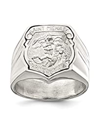 925 Sterling Silver Mens Saint Michael Band Ring Religious Man Fine Jewelry Dad Mens Gift Set