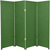 Natural Plant Fiber Woven Room Decor Light Green 4 Panels Divider