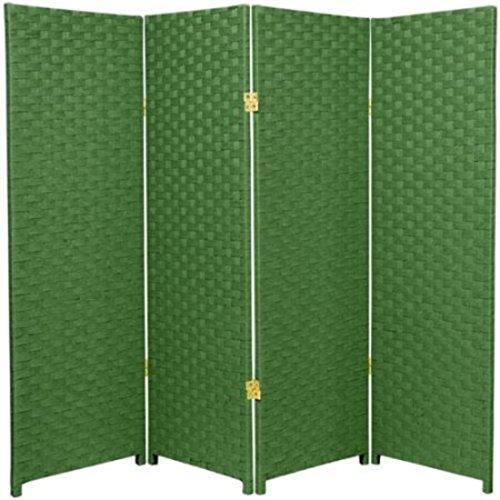 Natural Plant Fiber Woven Room Decor Light Green 4 Panels (Roses Trellis Pull)