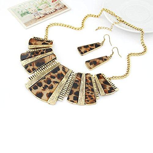 TIREOW Mode Vintage Mode Halsketten Anh/änger Mischstil B/öhmen Leopard Bib Kette Ketten Ohrringe Schmuck f/ür Frauen Lady Girl