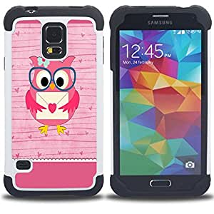 - Owls Owl Cartoon - - Fulland Deluxe Hybrid TUFF Rugged Shockproof Rubber + Hard Case Cover FOR Samsung Galaxy S5 I9600 G9009 G9008V Queen Pattern