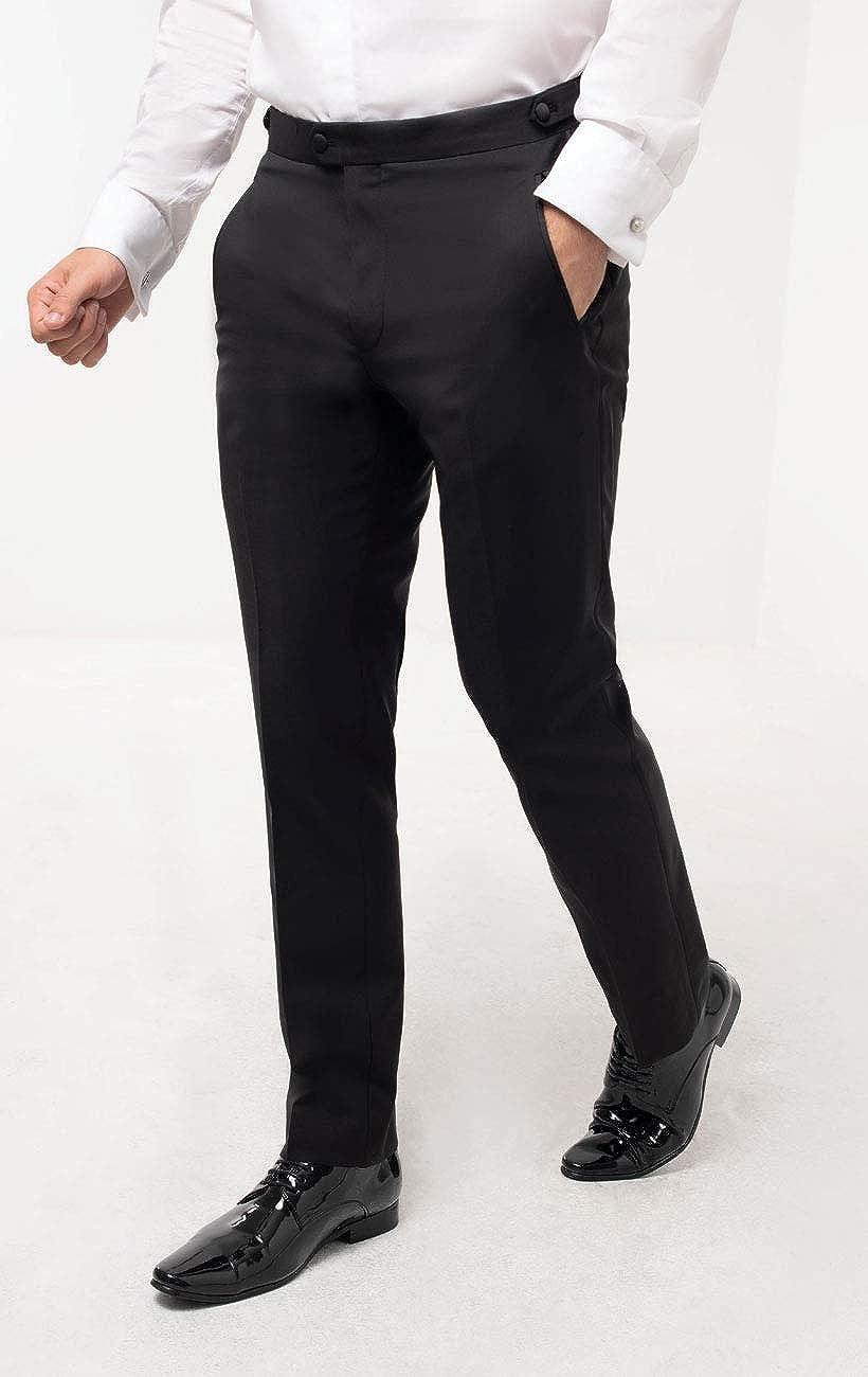 Dobell Mens Black Tuxedo Pants Regular Fit Satin Side Stripe