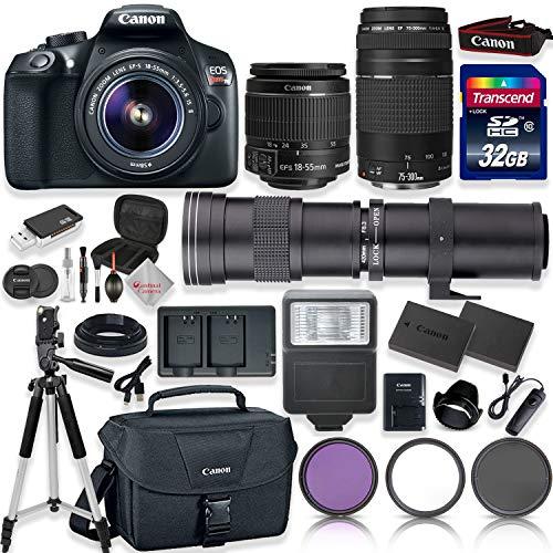 Canon EOS Rebel T6 Digital SLR Camera with 18-55mm EF-S f/3.5-5.6 is II Lens & EF 75-300mm f/4-5.6 III Lens + 420-800mm Zoom Lens + Transcend 32GB Memory + Canon Case + Tripod + Full Accessory Bundle