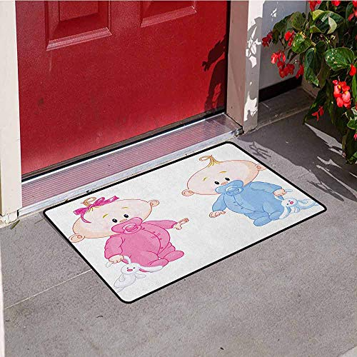 (GloriaJohnson Gender Reveal Commercial Grade Entrance mat Cheerful Boy and Girl Children with Bunny Pacifiers Twins for entrances garages patios W19.7 x L31.5 Inch Pale Blue and Pink Peach)