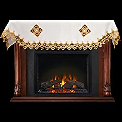 """Embroidered Fireplace Mantel Scarf with Deep Gold European Lace on Ivory Linen 19"""" x 90"""" from Linens, Art and Things"""