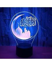 3D nattlampa barn 7 färger ändra islamisk akryl 3D nattlampa LED 3D bordslampa sänglampa belysning heminredning presenter till barn