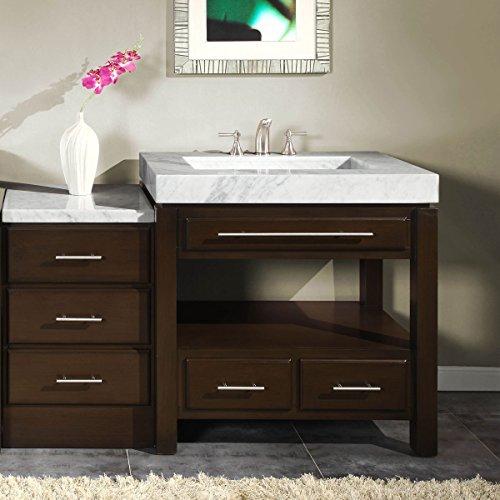 Silkroad Exclusive Marble Top Sink Bathroom Vanity with Modern Furniture Cabinet, 56-Inch by Silkroad Exclusive