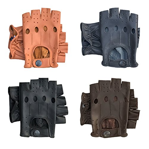 PRIME FINGERLESS REAL LEATHER DRIVING GLOVES MOTORBIKE CYCLING HALF FINGER 309