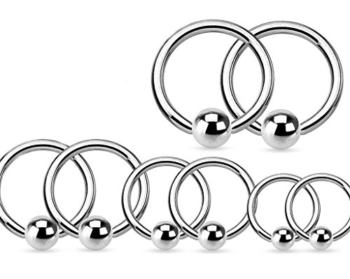 4 PAIR Value Pack 316L Surgical Steel Captive Bead Rings - 14g, 16g, 18g or 20g (14g (1.6 mm)) (12 Mm Captive Ring)