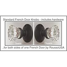 A Perfect Reproduction of the 1920 Depression Crystal Glass FRENCH DOOR Knob Sets - Each lot contains all the hardware for knobs on both sides of One French Door.(Oil Rubbed Bronze) (Ver 1.ORB8: Standard French Door)