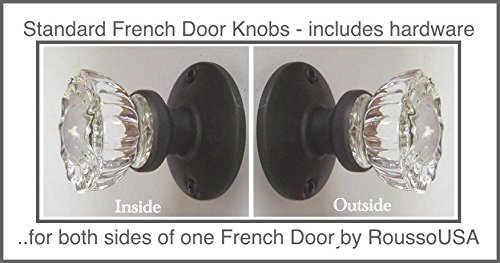 A Perfect Reproduction of the 1920 Depression Crystal Glass FRENCH DOOR Knob Sets - Each lot contains all the hardware for knobs on both sides of One French Door.(Oil Rubbed Bronze) (Ver 1.ORB8: Standard French Door) - Perfect Reproduction