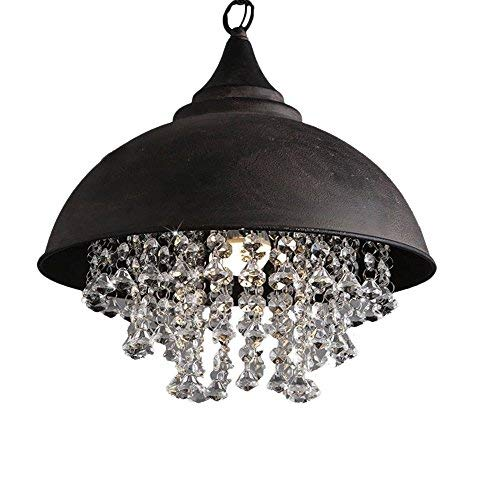 - Industrial Wrought Iron Vintage Retro Crystal Pendant Light - LITFAD Adjustable 14