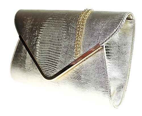 Ladies Animal Gold Clutch Flat Girly Envelope Bag Croc Evening Handbags Print 5qwSz4
