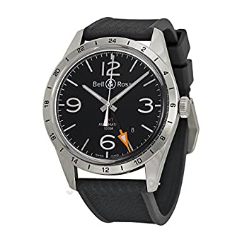 Bell And Ross Watches >> Amazon Com Bell And Ross Vintage Black Dial Black Rubber Mens Watch
