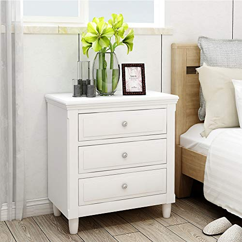 Suwikeke, Nightstand Three Drawers, Wood Bedside Storage Cabinet Furniture Fully Assembled, Accent End Side Table Chest, Perfect for Home, Bedroom Living Room Accessories, Luxe-White (Drawers Nightstands With Wood)