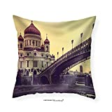 VROSELV Custom Cotton Linen Pillowcase Cathedral of Christ the Saviour. Russia Moscow. Toned Picture - Fabric Home Decor 14''x14
