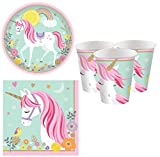 Fancy Me Girls Pretty Pastel Magical Unicorn 32pc Tableware Set Plates Cups Napkins Birthday Party...