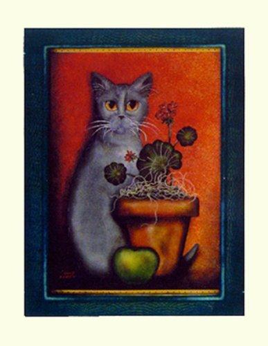 Buyartforless Framed Cat IV by Jessica Fries 7 X 5 Poster