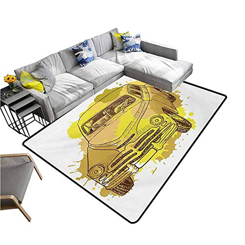 - Designed Kitchen Bathroom Floor Mat Colorful Grunge,Retro Car with Digital Grunge Torn Splash Dirty Graffiti Like Urban Illustration,Green Mustard 36