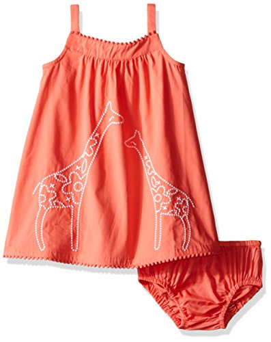 Gymboree Girls' Dress with Embroidered Giraffe, Sugar Coral, (Gymboree Giraffe)